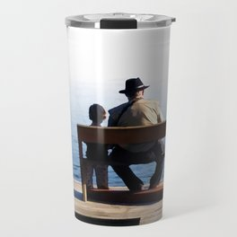 Grandson and Grandfather fishing on the end of a Boat Travel Mug