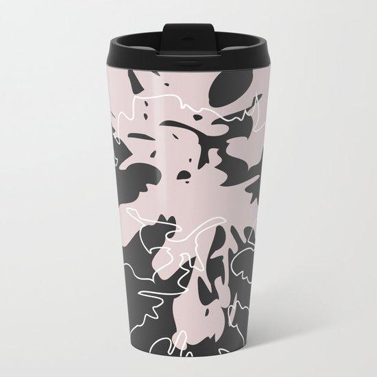 ABSTRACT FLORAL Metal Travel Mug