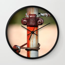 Rusted Fence Post #1 Wall Clock