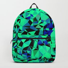 geometric triangle pattern abstract in green blue black Backpack