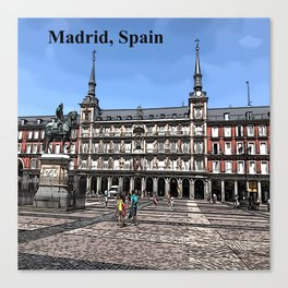 Comic Art of plaza in Madrid, Spain Canvas Print