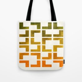Geometric Pattern L Shaped Watercolor Painting Olive Green Yellow Ochre Colorful Pattern Art Tote Bag