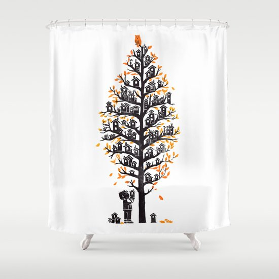 Hoot Lodge Shower Curtain