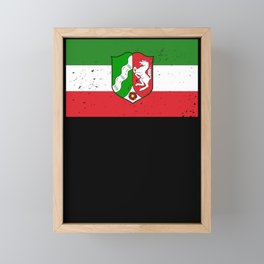 North Rhine-Westphalia flag coat of arms flag gift Framed Mini Art Print