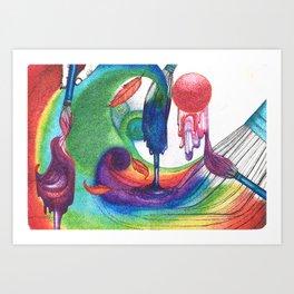 an ocean of color (pointillism) Art Print