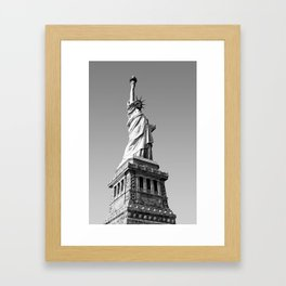 Statue of Liberty in black and white Framed Art Print
