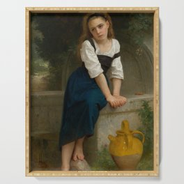 """William-Adolphe Bouguereau """"Orpheline à la fontaine ( Orphan at the fountain)"""" Serving Tray"""