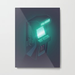 Polybius Arcade Game Machine Cabinet - Isometric Black Metal Print