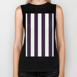 Vertical Stripes - White and Dark Purple Biker Tank