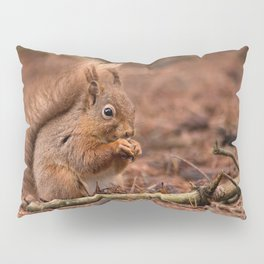 Nature woodland animals Red squirrel by a log Pillow Sham
