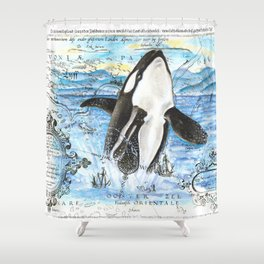 Breaching Orca Ancient Map Shower Curtain