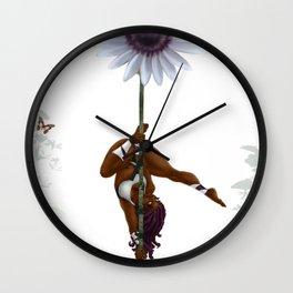 Purple Dancing Daisy Wall Clock