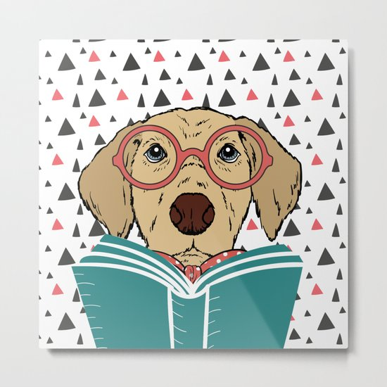 Reading Dog Metal Print