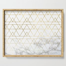 Gold Geometric Marble Deco Design Serving Tray