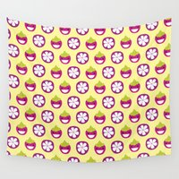 singapore Wall Tapestries featuring Dotty Mangosteen II - Singapore Tropical Fruits Series by littleoddforest