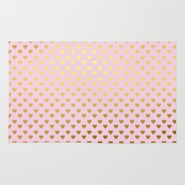 Princesslike - pink and gold elegant heart ornament pattern Rug