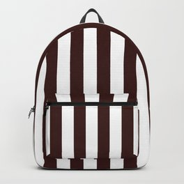 Narrow Vertical Stripes - White and Dark Sienna Brown Backpack