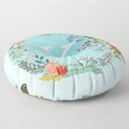 Personalized Monogram Initial Letter K Blue Watercolor Flower Wreath Artwork Floor Pillow