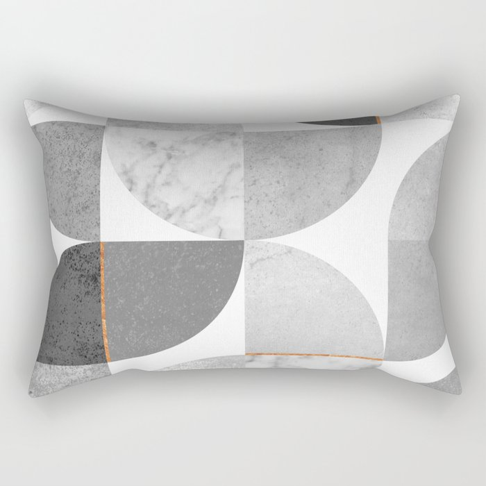 Marble Gray Copper Black and white circles Rectangular Pillow