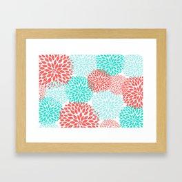 Coral Teal Dahlia Bouquet Framed Art Print