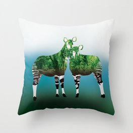 Mythical Beast: The Okapi Throw Pillow