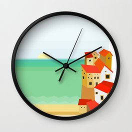 Mediterranean Coastal City Wall Clock