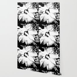 Hibiscus Flower In Black And White Art Wallpaper