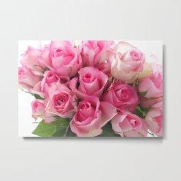 Pink Roses Bouquet Metal Print
