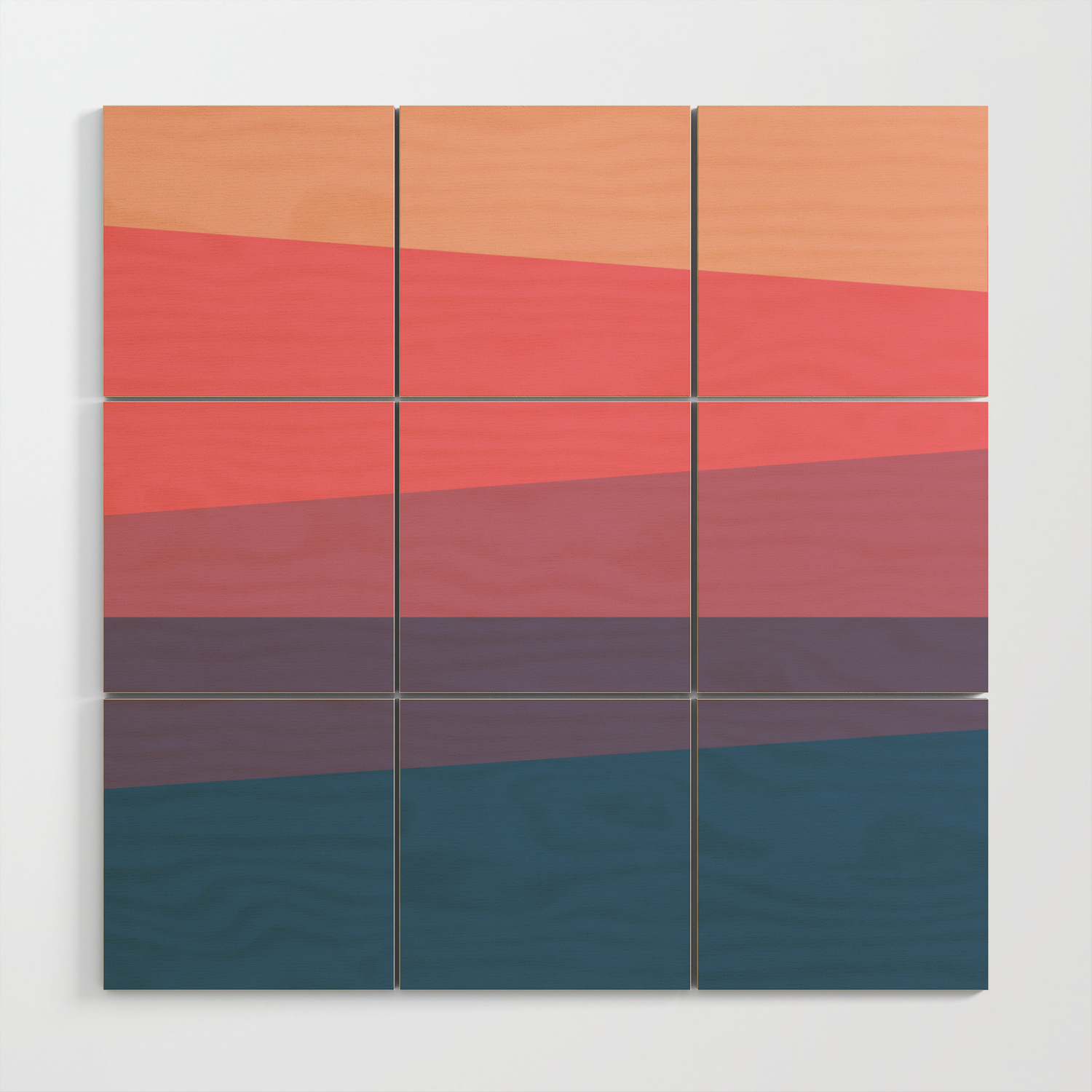 Red Blue Color Palette Wood Wall Art