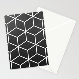 Charcoal and White - Geometric Textured Cube Design Stationery Cards