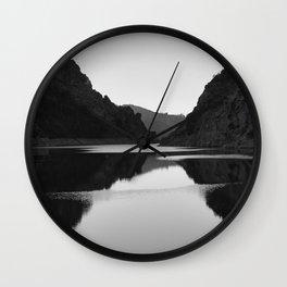 Lake mountain. At sunset. BW Wall Clock