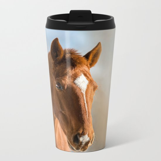 Brown Horse Winter Sky Metal Travel Mug