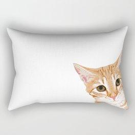 Peeking Orange Tabby Cat - cute funny cat meme for cat ladies cat people Rectangular Pillow