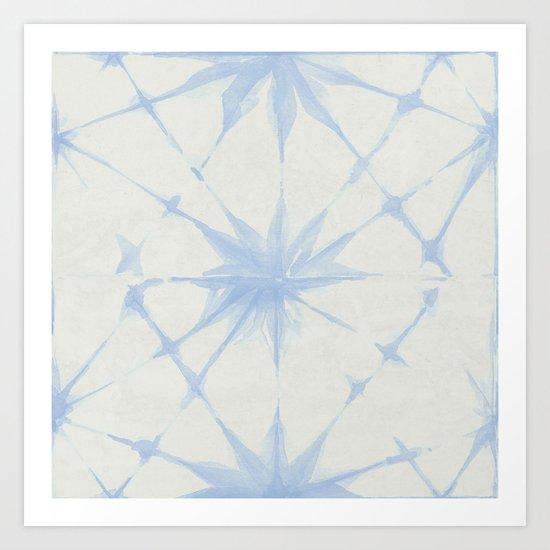 Shibori Starburst Sky Blue on Lunar Gray Art Print