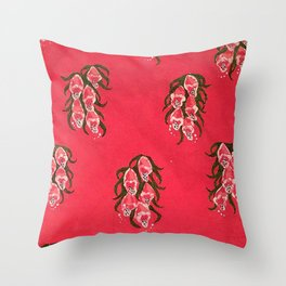Foxgloves in Red Throw Pillow