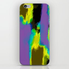 yellow green blue and black painting abstract with purple background iPhone Skin