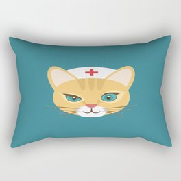Nurse Cat ~ Teal Rectangular Pillow