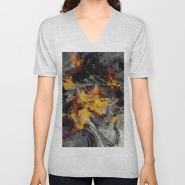Yellow / Golden Abstract / Surrealist Landscape Painting Unisex V-Neck