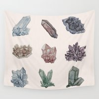 crystals Wall Tapestries featuring Crystals by Samantha Crepeau