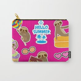 Hello Summer bright tropical patches stickers. Kawaii cute sloth collection Carry-All Pouch