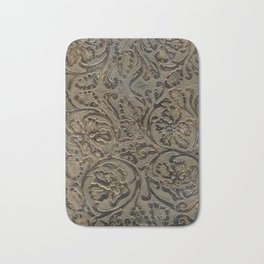 Olive & Brown Tooled Leather Bath Mat