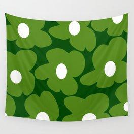 Spring Green Retro Flowers Dark Green Background #decor #society6 #buyart Wall Tapestry