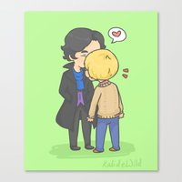 johnlock Canvas Prints featuring Johnlock Kisses by KalesButt