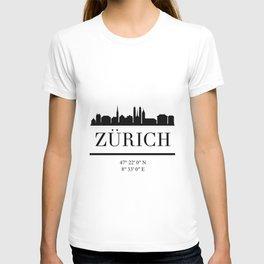 ZURICH SWITZERLAND BLACK SILHOUETTE SKYLINE ART T-shirt