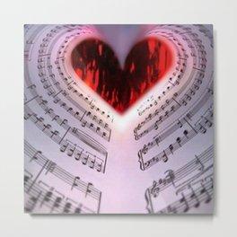 'For the Love of Music' Sheet Music Art Motif Metal Print