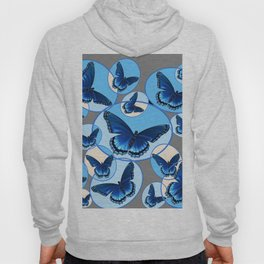 ABSTRACT MODERN ART CIRCLE PATTERNED  BLUE BUTTERFLY FLOCK Hoody