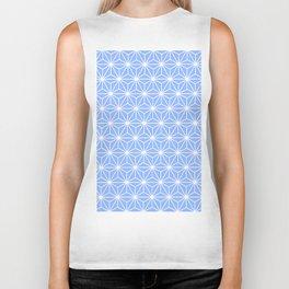 Cold Blue Geometric Flowers and Florals Isosceles Triangle Biker Tank