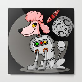 Pink cartoon dog astronaut in galaxy with planet Metal Print
