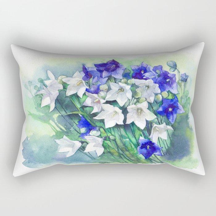 Campanula watercolor flowers, aquarelle bellflowers Rectangular Pillow
