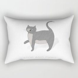 Stop and Paws - A Cat's moment to pause Rectangular Pillow